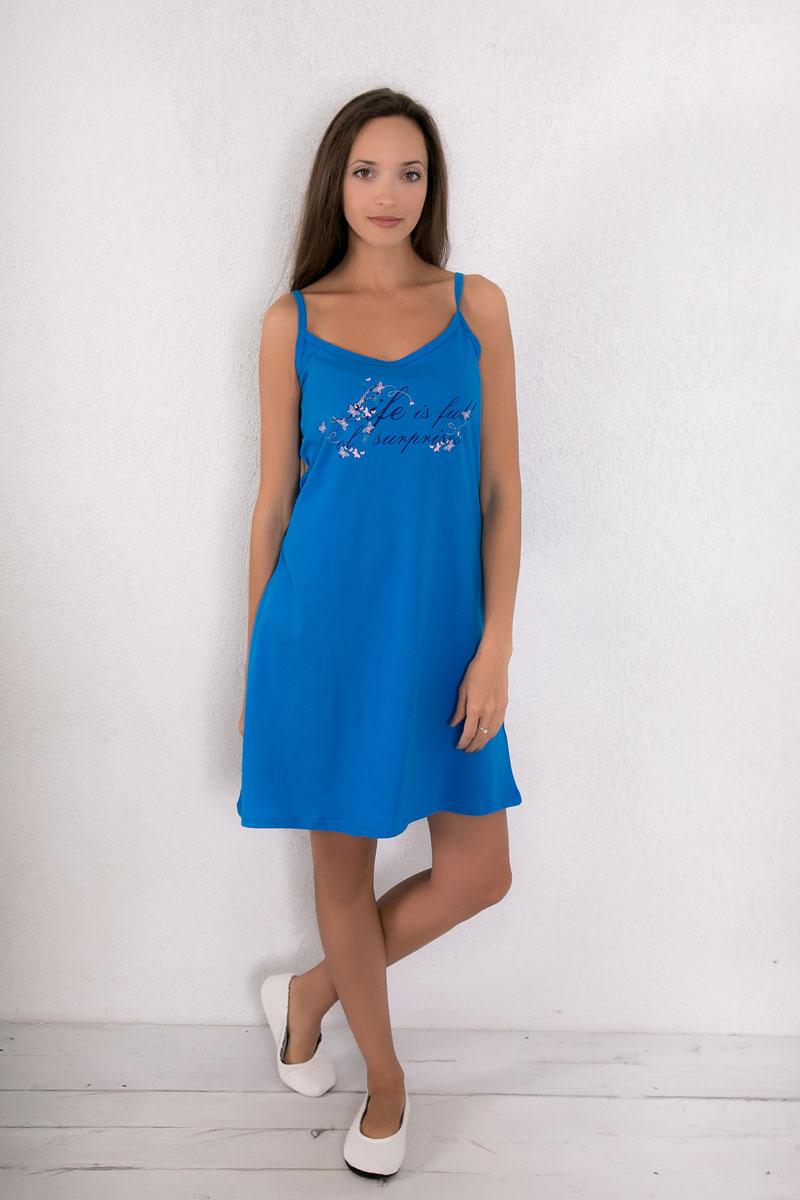Платье домашнее Violett, цвет: синий. 7117110401. Размер XXL (52)7117110401Платье домашнее Violett изготовлено из натурального хлопка. Модель на бретельках оформлена интересным принтом.