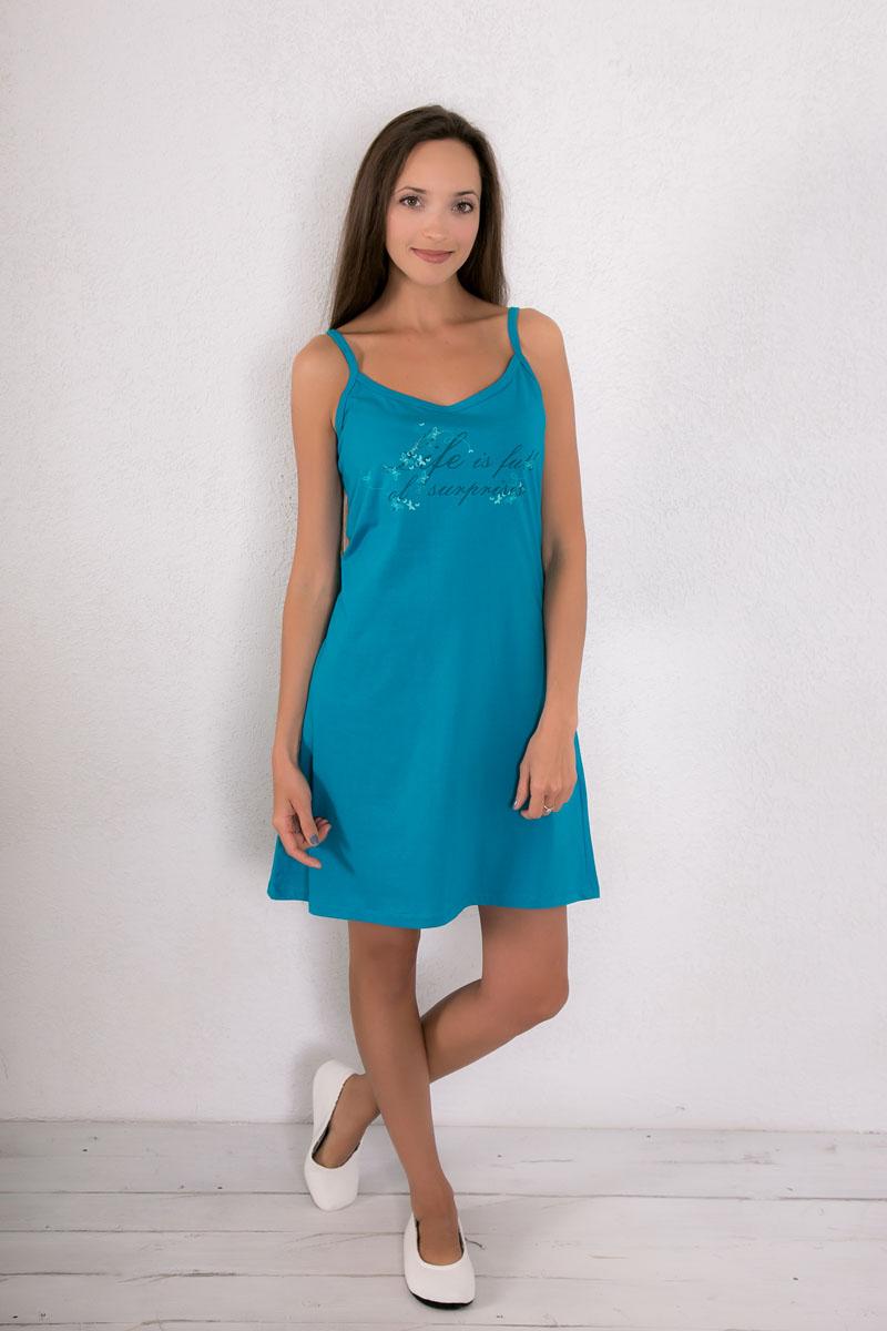 Платье домашнее Violett, цвет: темно-бирюзовый. 7117110403. Размер XL (50)7117110403Платье домашнее Violett изготовлено из натурального хлопка. Модель на бретельках оформлена принтом в в виде бабочек и надписями.