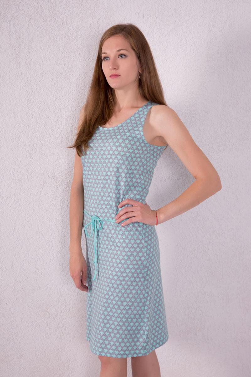 Платье домашнее Violett, цвет: мятный. 7117110504. Размер M (46)7117110504Платье домашнее Violett изготовлено из натурального хлопка. Модель с круглым вырезом горловины, оформлена оригинальным принтом и дополнена эластичным поясом.