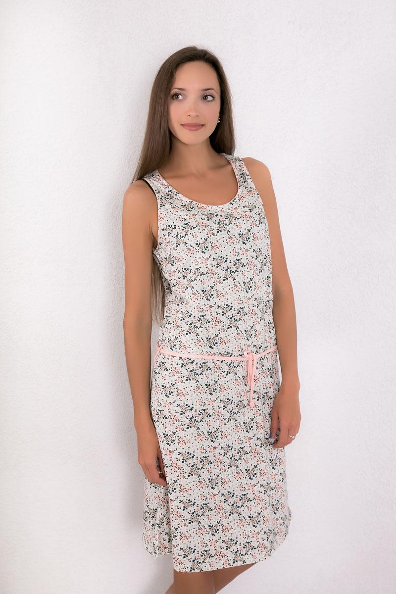 Платье домашнее Violett, цвет: персиковый. 7117110521. Размер L (48)7117110521Платье домашнее Violett изготовлено из натурального хлопка. Модель с круглым вырезом горловины, оформлена цветочным принтом и дополнена эластичным поясом.