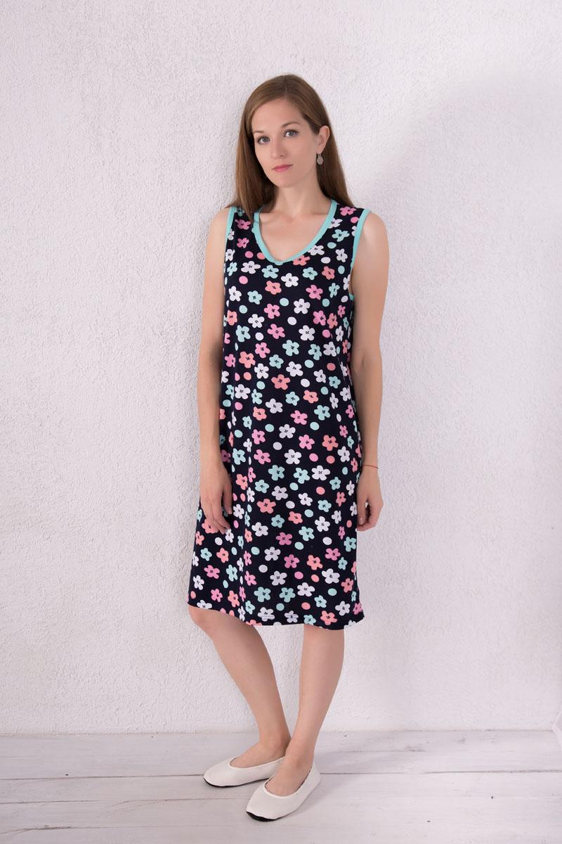 Платье домашнее Violett, цвет: темно-синий, ментоловый, розовый. 7117110604. Размер XL (50)7117110604Домашнее платье Violett выполнено из натурального хлопка. Платье-миди с V-образным вырезом горловины и без рукавов оформлено цветочным принтом и принтом в горох.