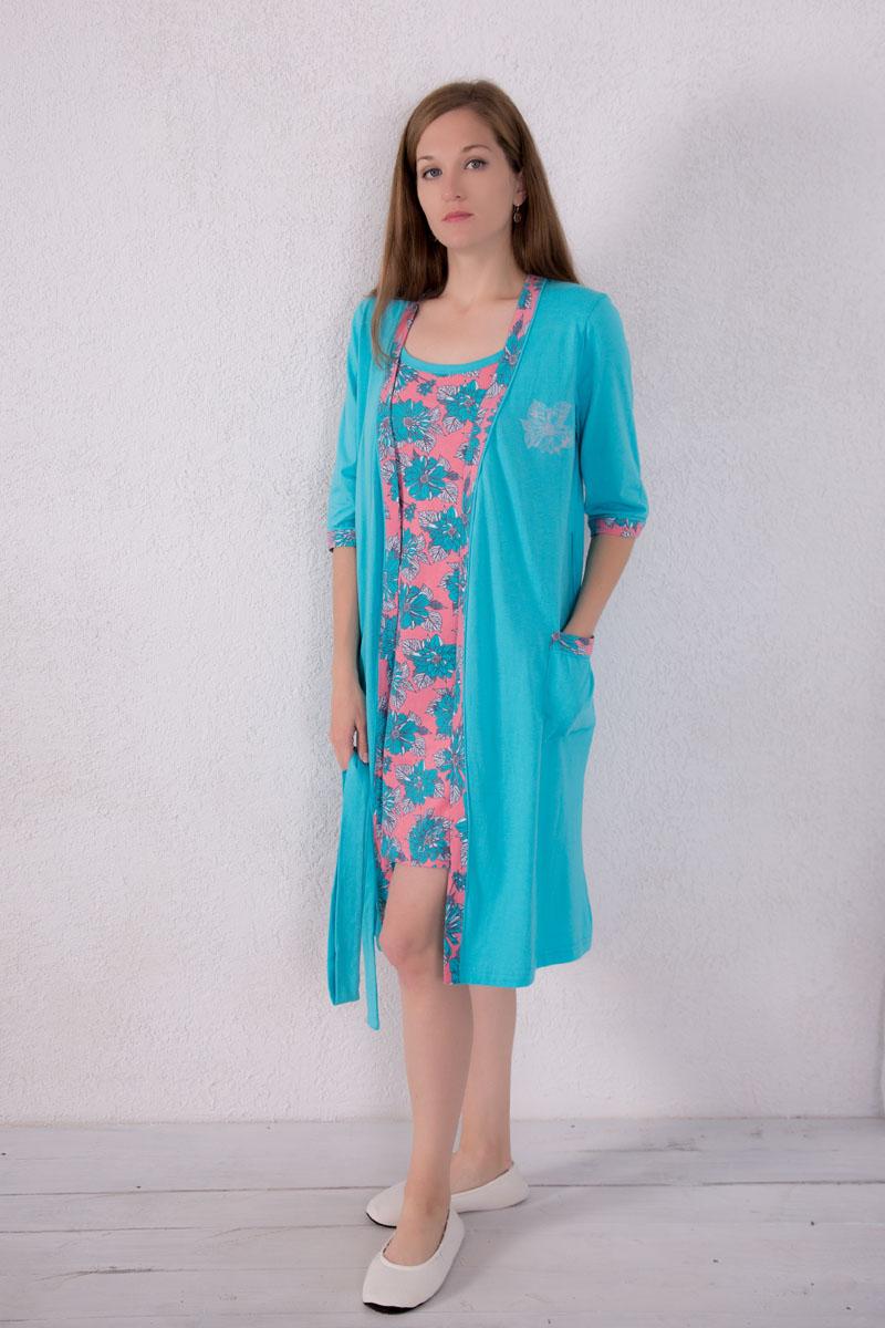 Комплект домашний женский Violett: туника, халат, цвет: голубой, розово-коралловый. 7117120101. Размер XL (50) халат женский violett цвет розовый 7117110105 размер m 46