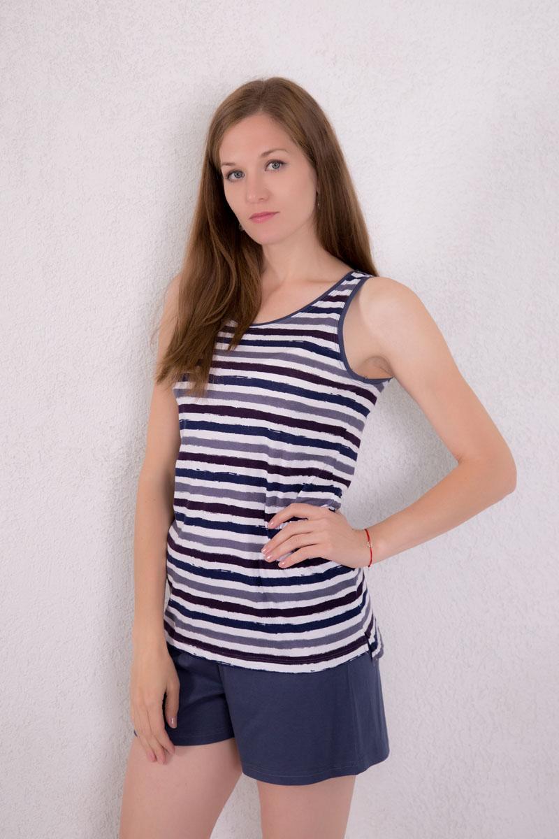 Комплект домашний женский Violett: майка, шорты, цвет: серо-синий, белый, темно-фиолетовый. 7117130301. Размер M (46) халат женский violett цвет розовый 7117110105 размер m 46
