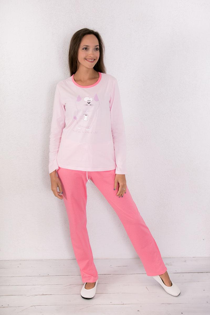 Комплект домашний женский Violett: лонгслив, брюки, цвет: светло-розовый, розовый. 7117150120. Размер M (46) халат женский violett цвет розовый 7117110105 размер m 46