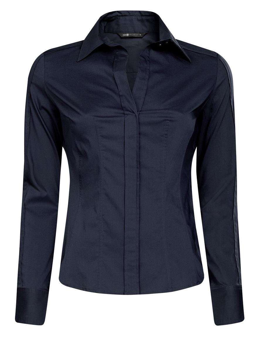 Блузка женская oodji Collection, цвет: темно-синий. 21407048/42853/7900N. Размер 36 (42-170)