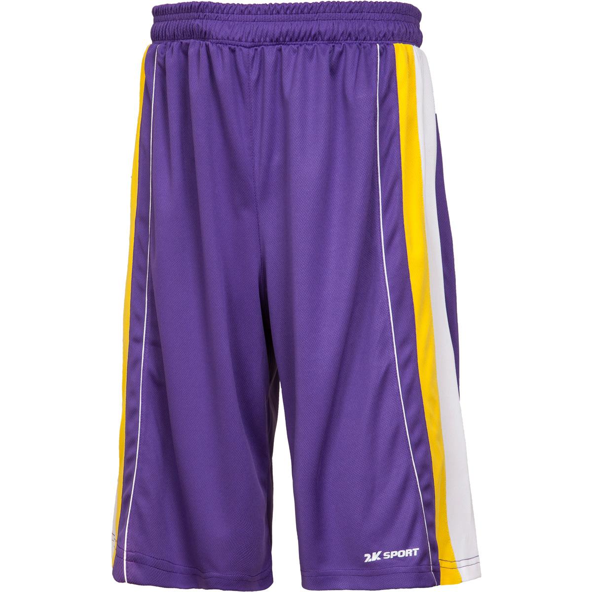 Шорты баскетбольные мужские 2K Sport Advance, цвет: фиолетовый, желтый, белый. 130031. Размер XXL (54)