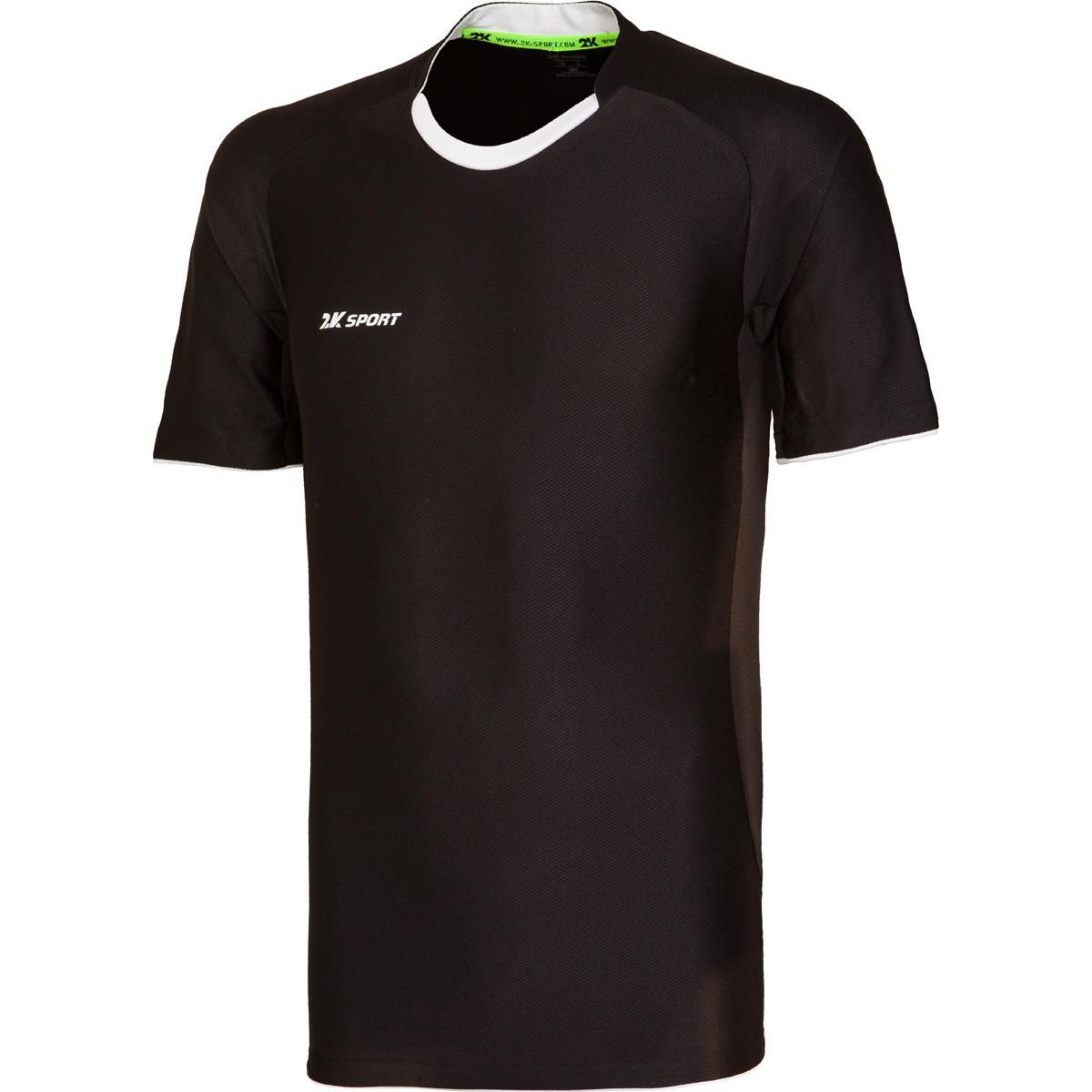 Футболка игровая мужская 2K Sport Champion II, цвет: черный, белый. 120018. Размер XS (44) повязка капитанская 2k sport captain цвет светло зеленый черный