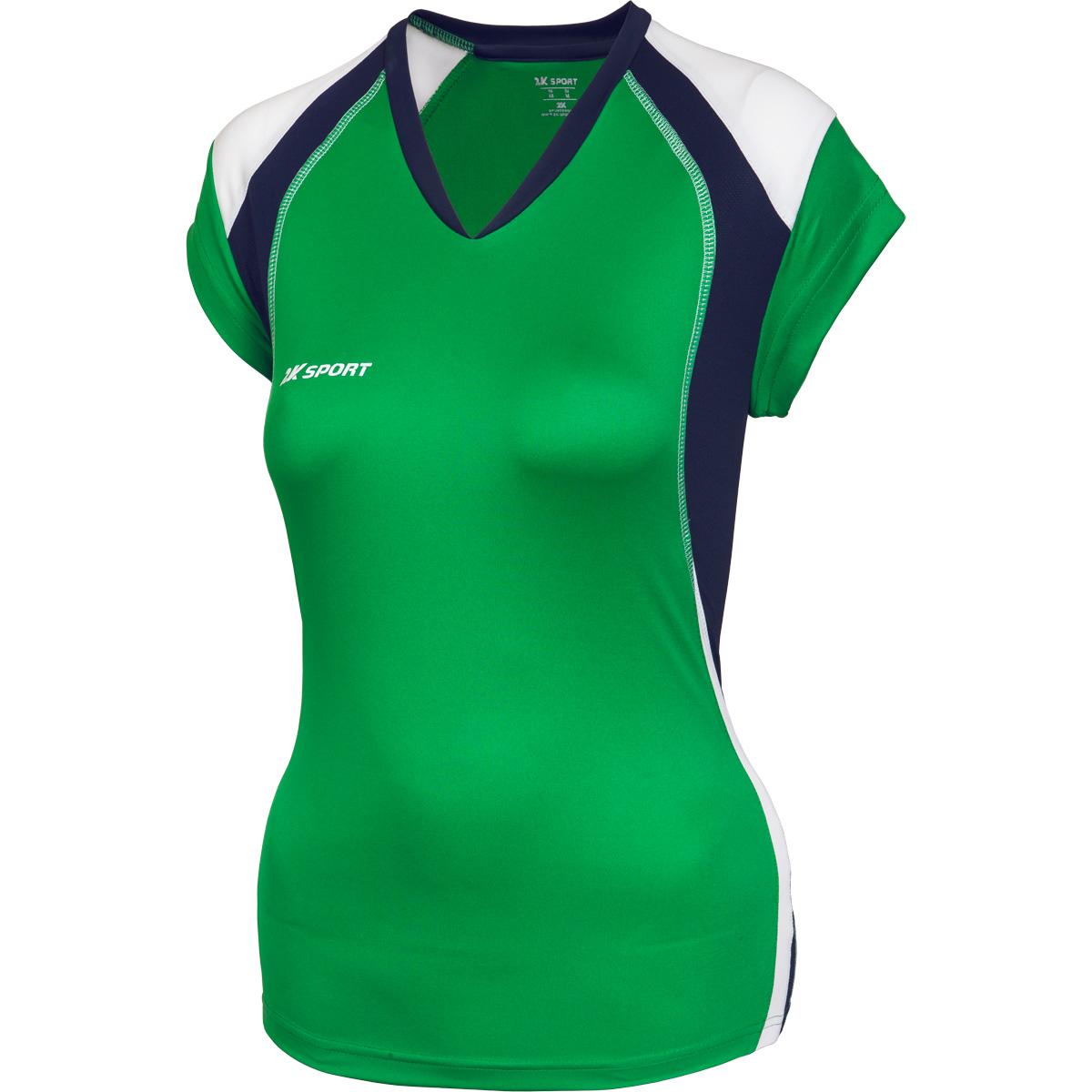 Футболка волейбольная женская 2K Sport Energy, цвет: зеленый, темно-синий, белый. 140042. Размер XS (40/42) - Волейбол