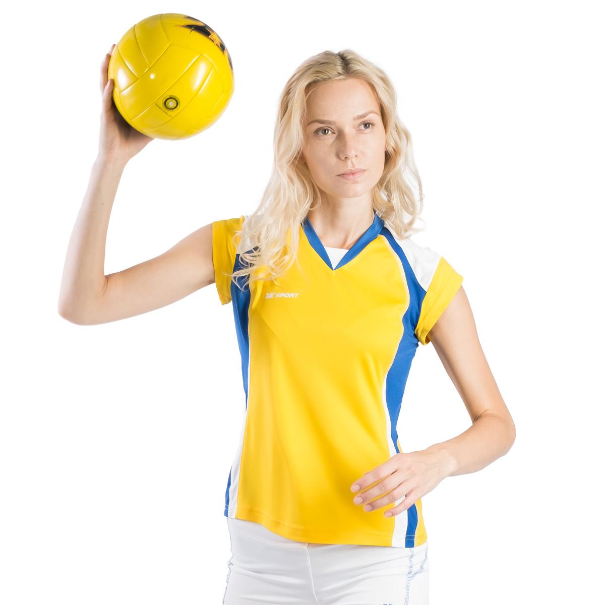 Футболка волейбольная женская 2K Sport Energy, цвет:  желтый, синий, белый.  140042.  Размер L (46/48) 2K Sport