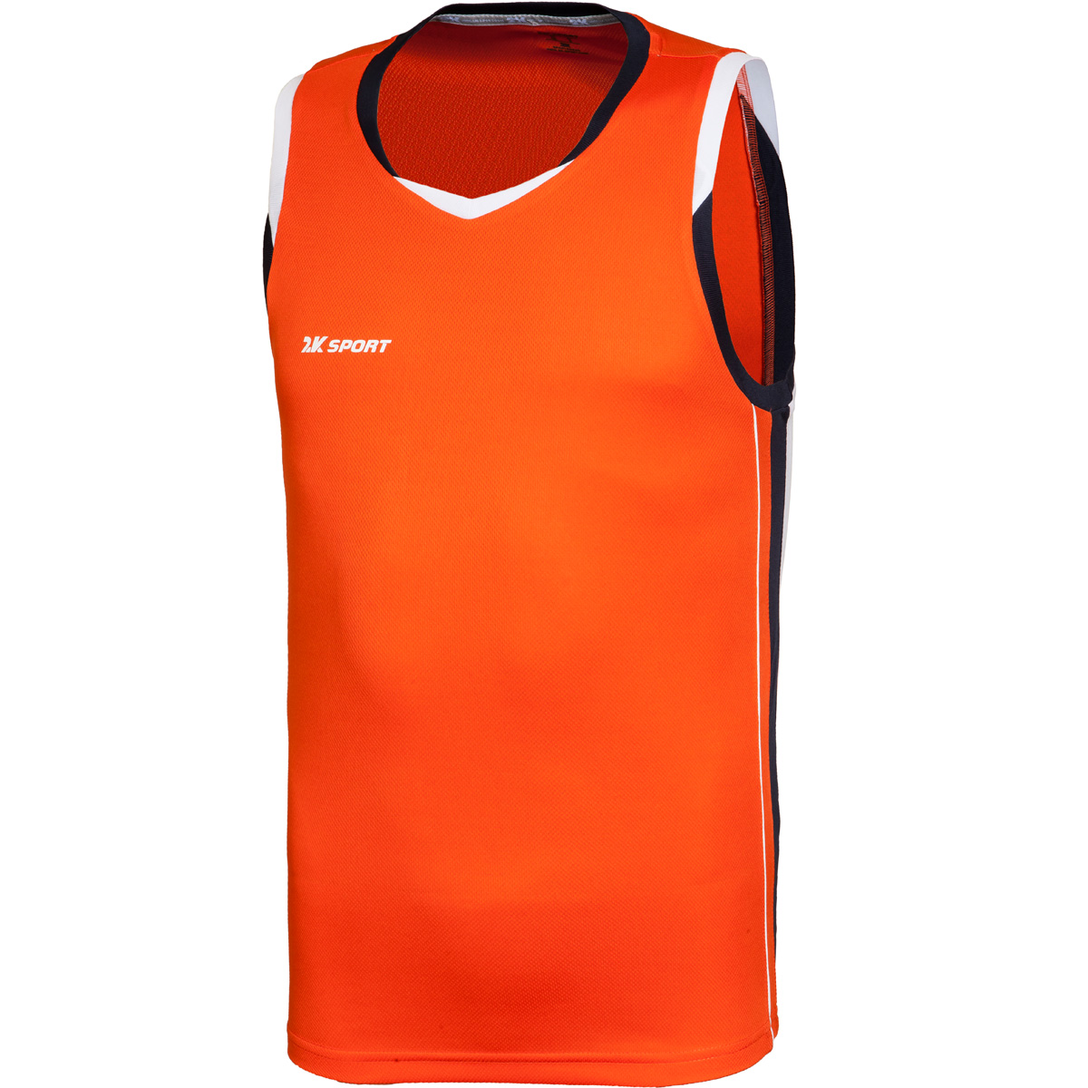 Майка баскетбольная мужская 2K Sport Advance, цвет: оранжевый, темно-синий, белый. 130030. Размер M (48)130030_orange/navy/whiteПрофессиональная баскетбольная игровая майка от 2K Sport создана для того, чтобы вам ничего не мешало демонстрировать великолепную игру на паркете против самых грозных соперников. Особая сетчатая структура ткани позволяет сделать майку практически невесомой, сохраняя при этом прочность и эластичность. Стильный двухцветный кант по вороту и рукаву. Боковые контрастные вставки.