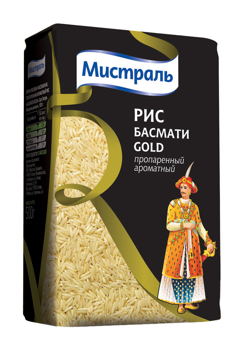 Мистраль Рис Басмати Gold, 500 г prosto ассорти 4 риса в пакетиках для варки 8 шт по 62 5 г