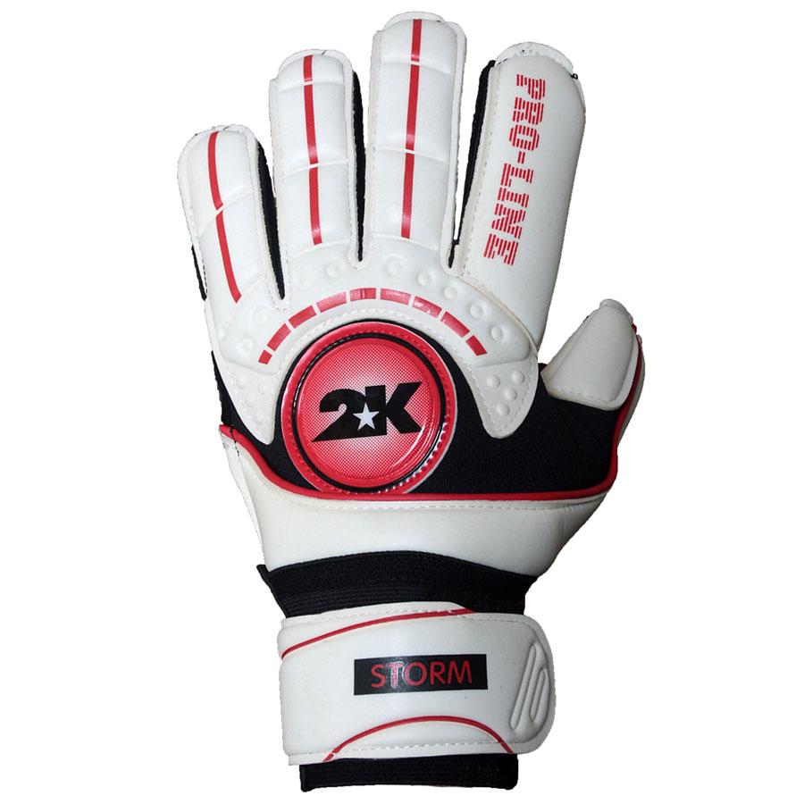 Перчатки вратарские профессиональные 2K Sport  Storm , цвет: белый, красный, черный. Размер 8 - Футбол