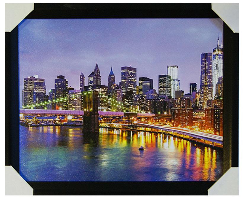 Картина в раме Proffi Home Мост над Гудзоном, 40 х 50 смВ764Картина Proffi Home поможет украсить интерьер. Картина оформлена в красивую деревянную рамку черного цвета. Фотопечать на бумажном постере с тиснением.Металлические петли, винты для подвешивания картины в комплекте.Размер картины: 40 х 50 см.