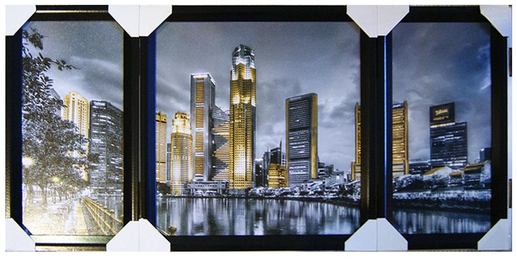 Картина в раме Proffi Home Ночной сити. Триптих, 50 х 100 см часы настенные proffi home корица