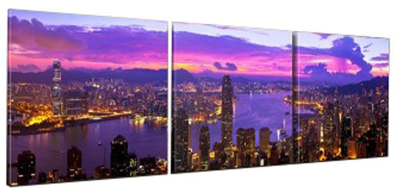 Картина модульная Proffi Home Огни большого города. Триптих, 50 х 150 см