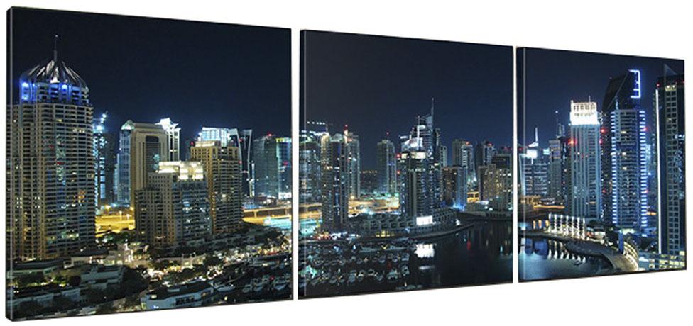 Картина модульная Proffi Home Панорама ночного города. Триптих, 50 х 150 см