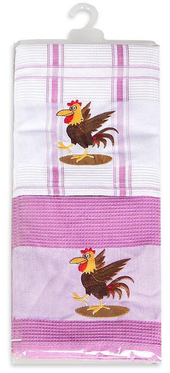 Набор кухонных полотенец Soavita Петух вышивка, цвет: розовый, 43 х 68 см, 2 шт. 8625186251Перед использованием постирать при температуре не выше 40 градусов