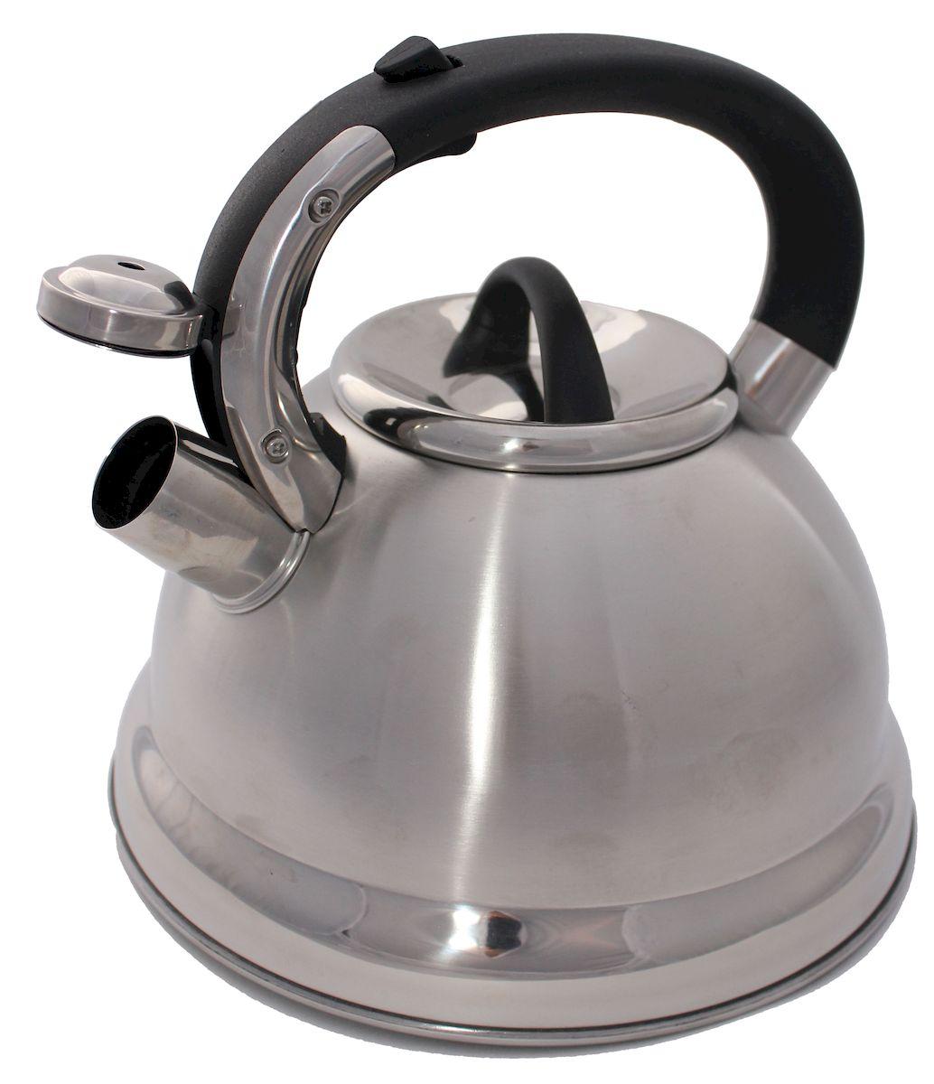 Чайник Hoffmann, со свистком, цвет: стальной, черный, 4,8 лHM 5548Чайник Hoffmann выполнен из высококачественной нержавеющей стали, что делает его весьма гигиеничным и устойчивым к износу при длительном использовании. Носик чайника оснащен насадкой-свистком, что позволит вам контролировать процесс подогрева или кипячения воды. Фиксированная ручка, изготовленная из бакелита, оснащена механизмом открывания носика. Эстетичный и функциональный чайник будет оригинально смотреться в любом интерьере.Подходит для всех типов плит, включая индукционные. Можно мыть в посудомоечной машине.
