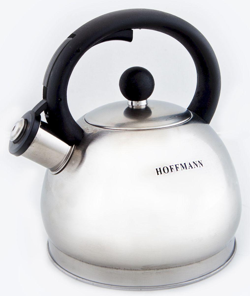 Чайник Hoffmann со свистком, 2 л. НМ 5518НМ 5518Чайник Hoffmann выполнен из высококачественной нержавеющей стали, что делает его весьма гигиеничным и устойчивым к износу при длительном использовании. Носик чайника оснащен насадкой-свистком, что позволит вам контролировать процесс подогрева или кипячения воды. Фиксированная ручка, изготовленная из бакелита, оснащена механизмом открывания носика. Эстетичный и функциональный чайник будет оригинально смотреться в любом интерьере.