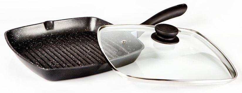 Сковорода-гриль Hoffmann с крышкой, с антипригарным покрытием, 24 х 24 смНМ 8824Сковорода-гриль с антипригарным мраморным покрытием изготовлена из литого алюминия с утолщенным дном, что позволяет равномерно нагревать поверхность.Крышка изготовлена из закаленного стекла с отверстием для паровыпуска. Ручка с покрытием Soft Touch. С одной из сторон сковороды носик для слива жидкости.Подходит для всех видов плит.