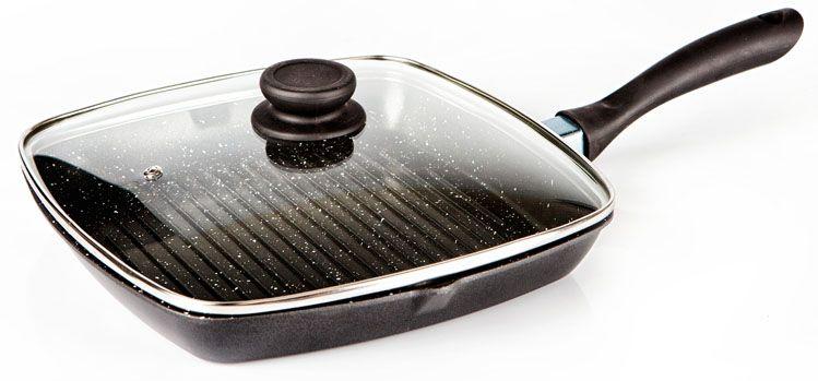 Сковорода-гриль Hoffmann, с крышкой, с антипригарным покрытием, 28 х 28 см сковорода oursson с антипригарным мраморным покрытием цвет слоновая кость диаметр 28 см