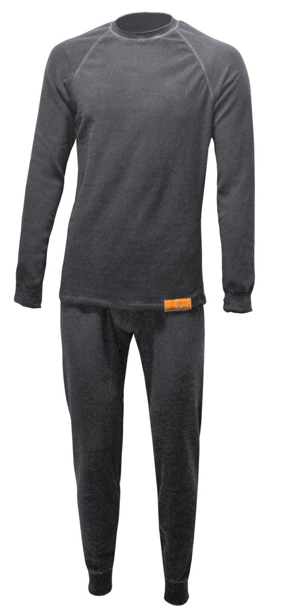 Комплект термобелья Woodland ThermoLine: брюки, кофта, цвет: серый. 57384. Размер L (48/50)ThermoLineКомплект термобелья Woodland ThermoLine изготавливается из качественного полиэстера. Может использоваться как одежда первого слоя (термобельё), так и как утепляющий флисовый второй слой с другими моделями термобелья Woodland. Материал изделия эластичный, легко тянется. Элементы кроя соединяются плоскими швами, которые при натяжении и под давлением не врезаются в кожу, не вызывают потертостей и ссадин. Комплект термобелья Woodland ThermoLine подходит для активного отдыха в зимний период, для повседневного ношения и длительного пребывания на открытом воздухе в холодном климате. Комплект термобелья Woodland ThermoLine комфортен в использовании, при продолжительном ношении не вызывает зуда. Материал изделия отводит влагу от тела и согревает. При намокании не теряет способности удерживать тепло, быстро сохнет на теле. Температурные показатели: при низкой физической активности - до минус 20 градусов, при высокой физической активности - до минус 30 градусов.