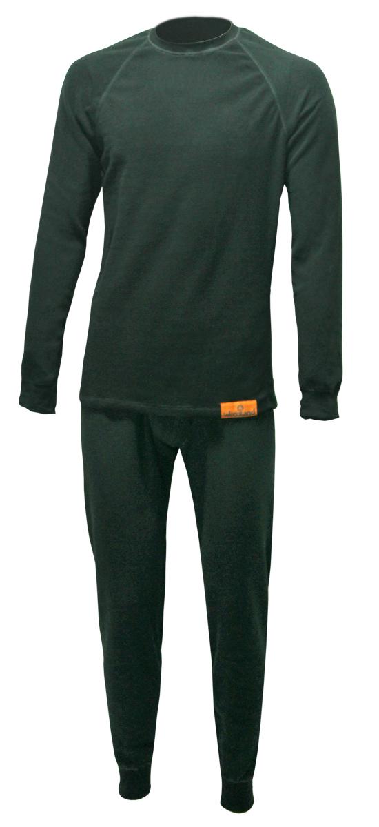 Комплект термобелья Woodland ThermoLine: брюки, кофта, цвет: черный. 57376. Размер S (42/44)ThermoLineКомплект термобелья Woodland ThermoLine изготавливается из качественного полиэстера. Может использоваться как одежда первого слоя (термобельё), так и как утепляющий флисовый второй слой с другими моделями термобелья Woodland. Материал изделия эластичный, легко тянется. Элементы кроя соединяются плоскими швами, которые при натяжении и под давлением не врезаются в кожу, не вызывают потертостей и ссадин. Комплект термобелья Woodland ThermoLine подходит для активного отдыха в зимний период, для повседневного ношения и длительного пребывания на открытом воздухе в холодном климате. Комплект термобелья Woodland ThermoLine комфортен в использовании, при продолжительном ношении не вызывает зуда. Материал изделия отводит влагу от тела и согревает. При намокании не теряет способности удерживать тепло, быстро сохнет на теле. Температурные показатели: при низкой физической активности - до минус 20 градусов, при высокой физической активности - до минус 30 градусов.