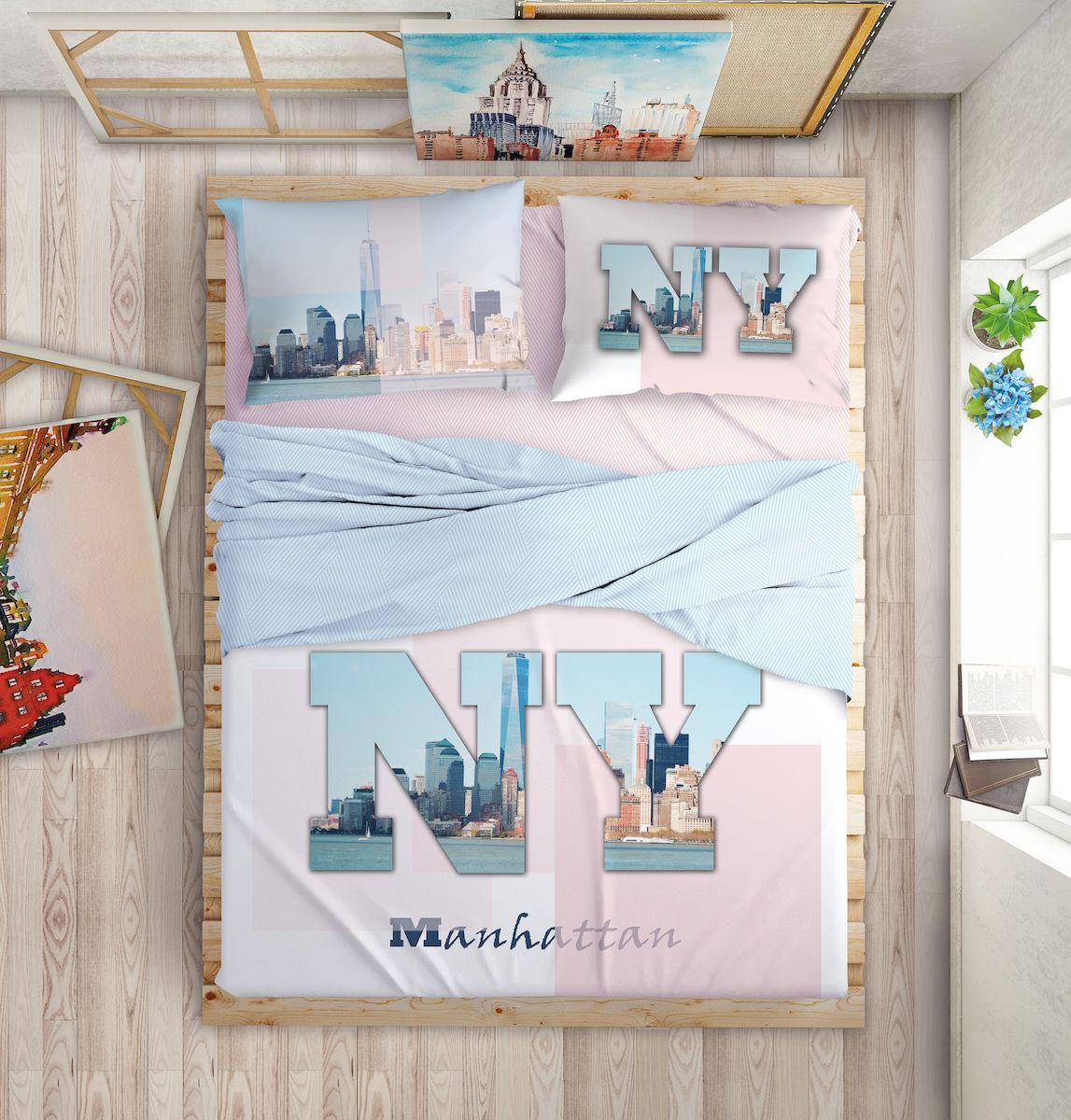 Комплект белья Love Me Manhattan Dreams, евро, наволочки 50х70, 70х70, цвет: голубой комплект постельного белья love me евро перкаль tropic 198862 711079