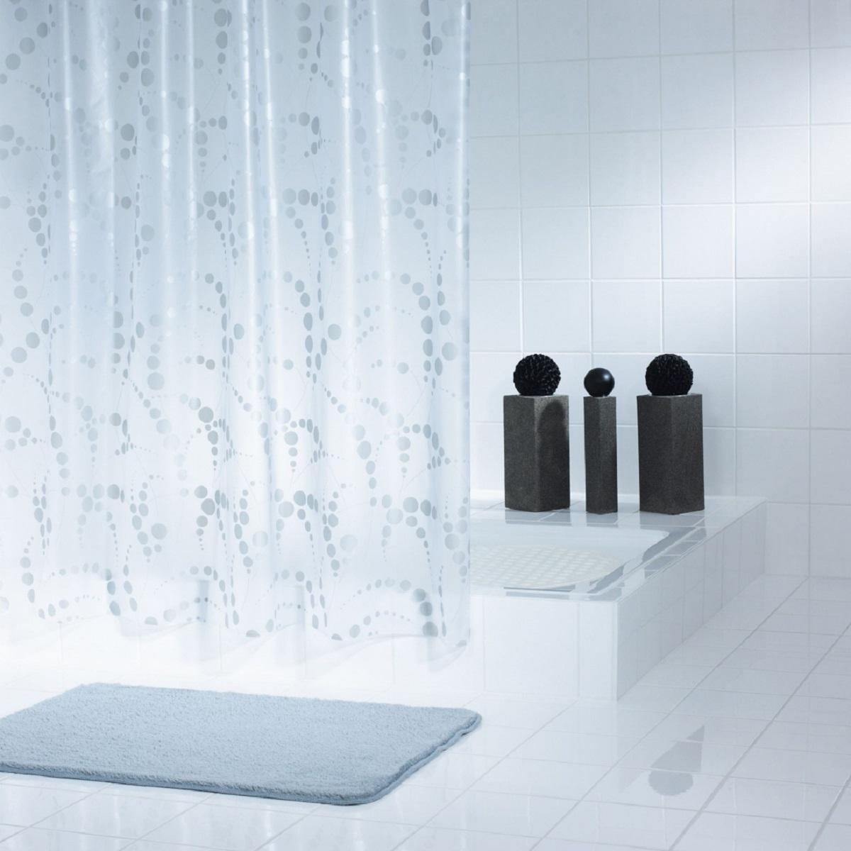 Штора для ванной комнаты Ridder Dots, цвет: серый, 180 х 200 см32377Штора для ванной комнаты Ridder Dots, изготовленная из высококачественного полиэтиленвинилацетата, приятна на ощупь, устойчива к разрывам и проколам, не пропускает воду. Изделие декорировано ярким рисунком с изображением кругов.Штора надежно защитит от брызг и капель пространство вашей ванной комнаты в то время, пока вы принимаете душ, а привлекательный дизайн шторы наполнит вашу ванную комнату положительной энергией.