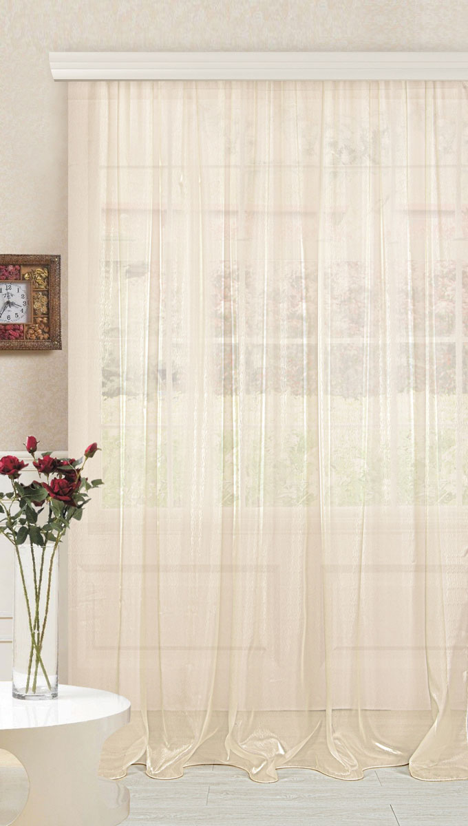 Тюль ТД Текстиль, цвет: экрю, высота 280. 8953989539Тюль органза с тиснением в виде мелкого вензеля. Классический стиль. Тюль прекрасно подойдет для помещения в современном дизайне. Крепление к карнизу осуществляется с использованием ленты.