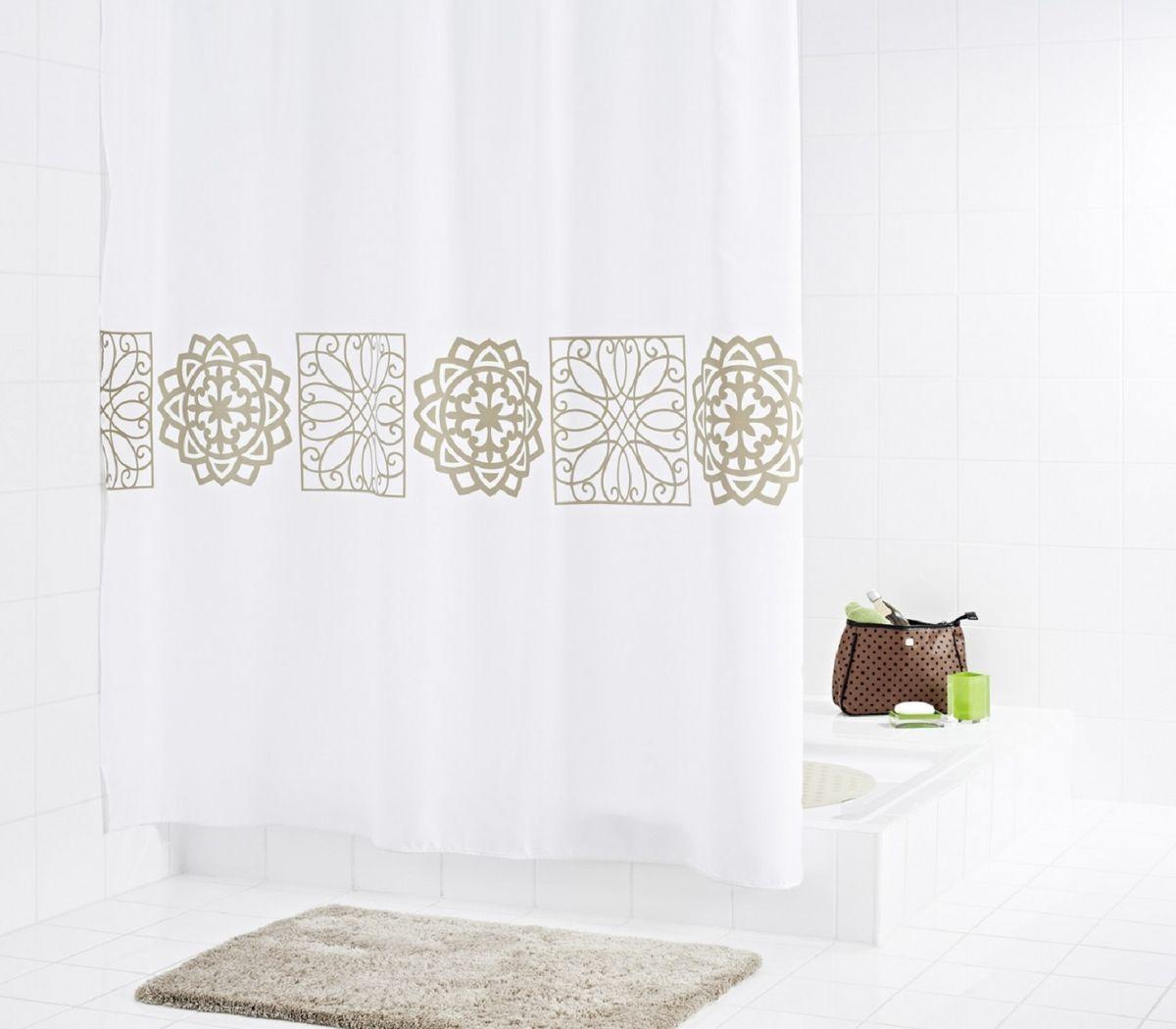 Штора для ванной комнаты Ridder Tunis, цвет: бежевый, коричневый, 180 х 200 см46359Штора для ванной комнаты Ridder Tunis, изготовленная из текстиля с антигрибковым и антистатическим покрытием, отлично дополнит любой интерьер ванной комнаты. Нижний кант утяжелен каучуковой лентой. Машинная стирка. Глажка при низкой температуре. Кольца не входят в комплект.