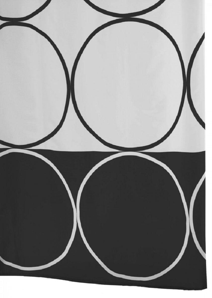 Штора для ванной комнаты Ridder Circle, цвет: черный, 180 х 200 см46380Высококачественная немецкая штора для душа создает прекрасное настроение. Данный продукт имеет антигрибковое, водоотталкивающее и антистатическое покрытие. Качественная обстрочка всех кантов. Утяжелённый нижний кант из каучука. Машинная стирка. Глажка при низкой температуре.