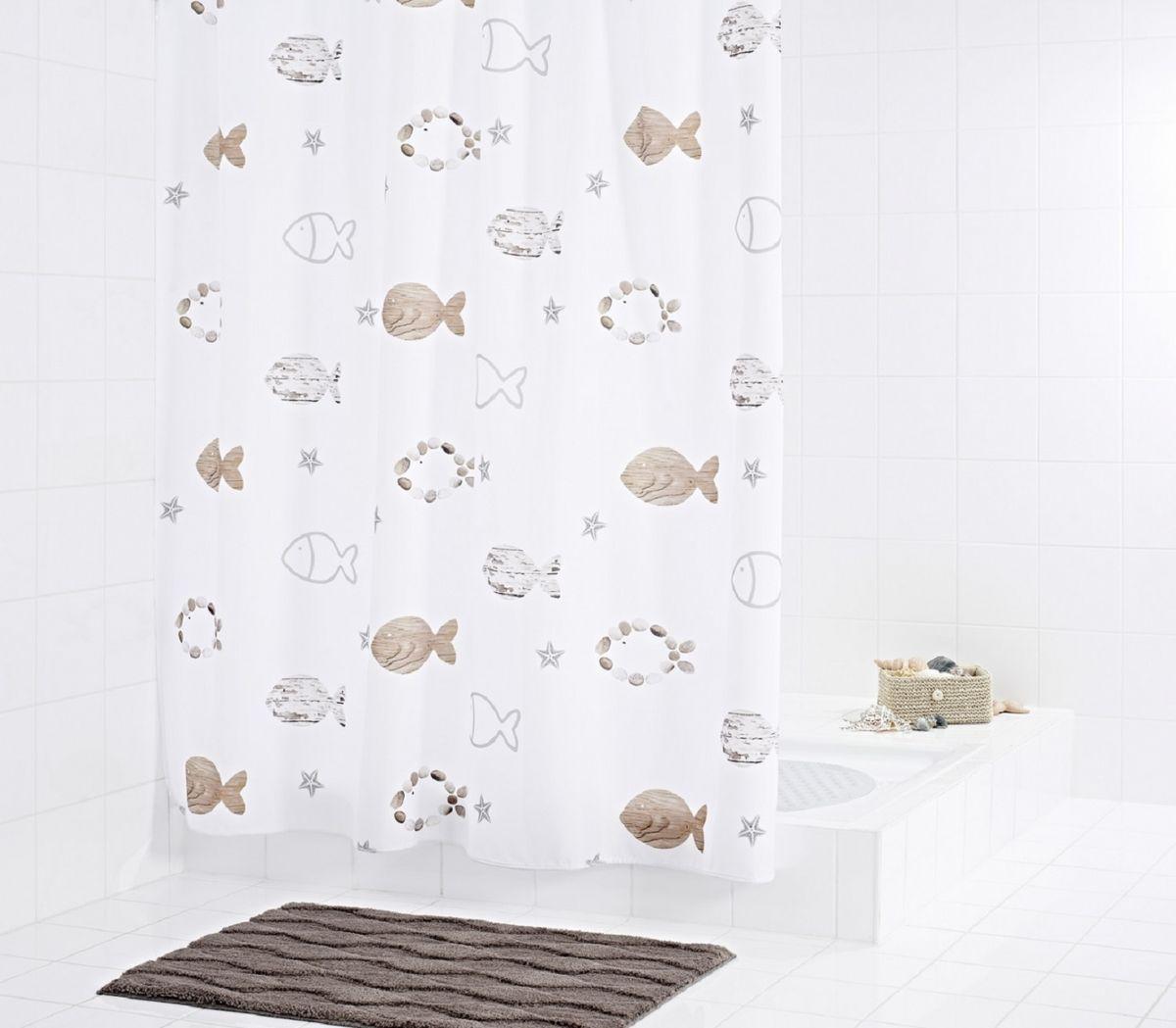 Штора для ванной комнаты Ridder Fishes, цвет: бежевый, коричневый, 180 х 200 см47819Штора для ванной комнаты Ridder Fishes, изготовленная из текстиля с антигрибковым и антистатическим покрытием, отлично дополнит любой интерьер ванной комнаты. Нижний кант утяжелен каучуковой лентой.Штора оснащена отверстиями под кольца с пластиковыми люверсами. Кольца приобретаются отдельно.