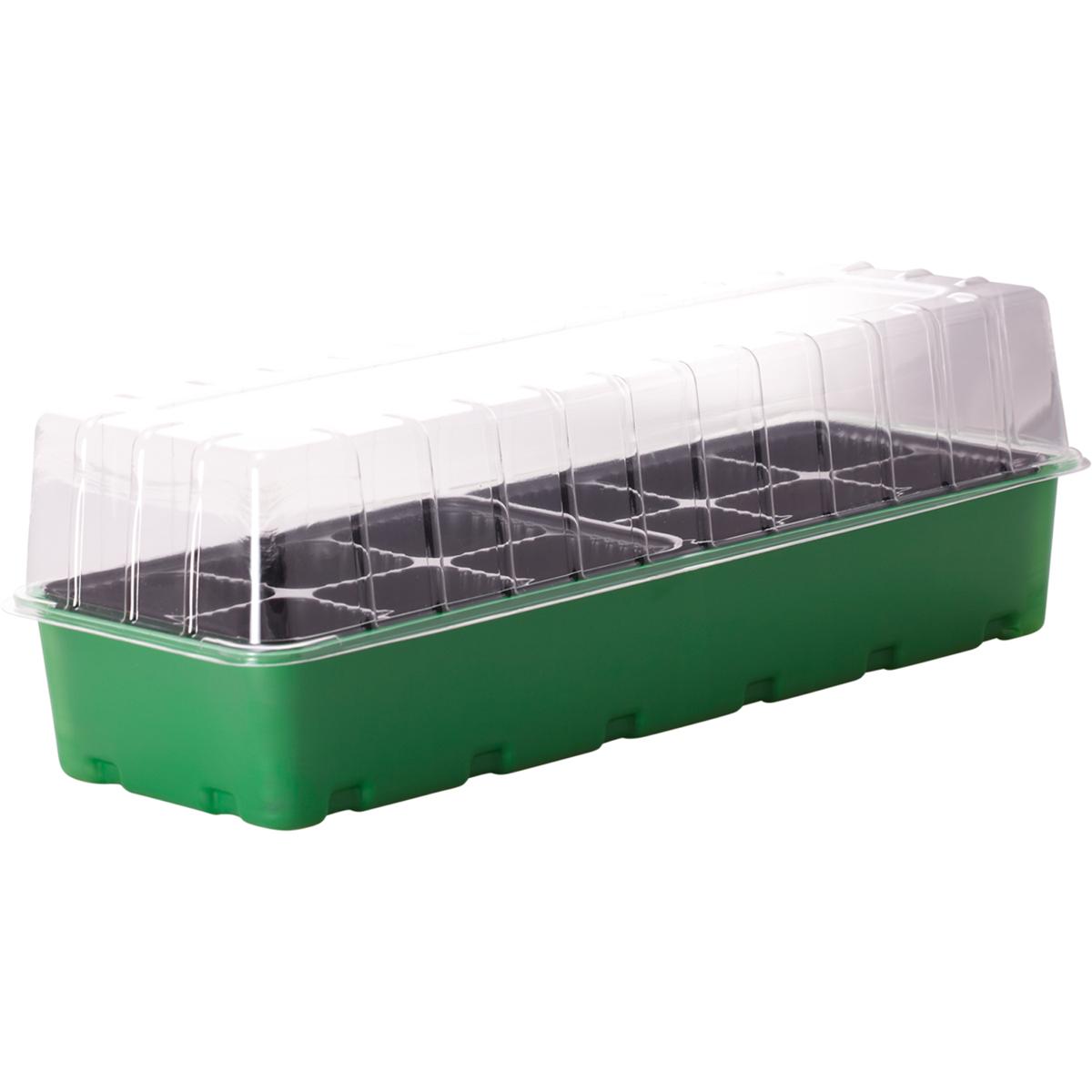 Минипарник для рассады InGreen, 12 ячеек, 40 х 17,4 х 13 смING60001FInGreen - компактный и удобный в использовании минипарник.Идеально подходит для выращивания рассады в домашнихусловиях. В комплекте: форма с ячейками под рассаду, поддондля стока лишней воды при поливе и крышка для созданияблагоприятного микроклимата для быстрой всхожести и ростарассады.Размер изделия: 40 х 17,4 х 13 см.