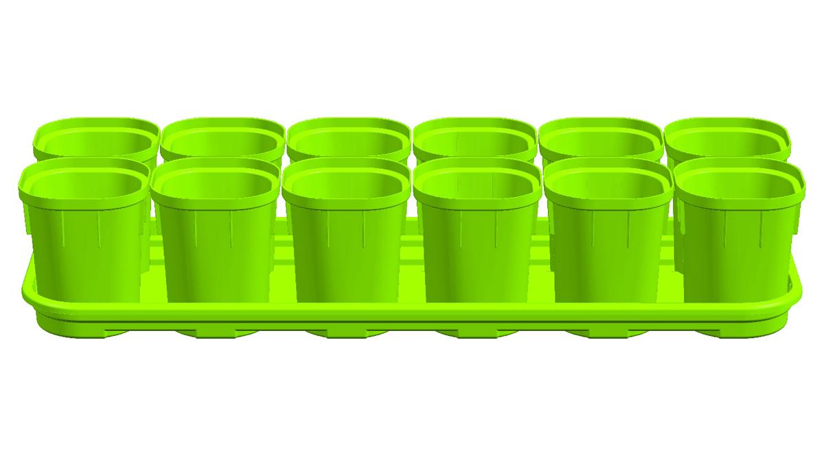 """Набор горшков """"InGreen"""", состоит из 12 горшков, выполненных  из цветного пластика, поможет развести великолепную  коллекцию сельскохозяйственных культур и вырастить  отличный урожай.  Набор предназначен для выращивания саженцев, рассады,  цветов и других растений. Горшки оснащены небольшими  дренажными отверстиями, которые позволяют содержать  грунт в хорошем состоянии, что благоприятно влияет на рост  растений. Удобное, вытаскиваемое дно горшков способствует  бережной пересадке. Входящий в набор поддон поможет  наилучшим образом организовать место для рассады, а также  избежать протечек и загрязнения поверхности. Такие горшки  обеспечат постоянный урожай в течение круглого года.  Объем горшка: 200 мл."""