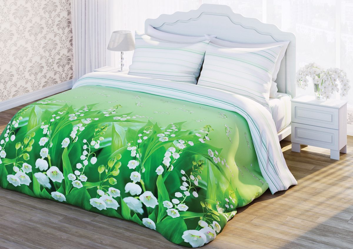 Комплект белья Любимый дом Ландыши, 1,5-спальный, наволочки 70x70, цвет: зеленый292286Комплект постельного белья коллекции Любимый дом выполнен извысококачественной ткани - из 100% хлопка. Такое белье абсолютно натуральное,гипоаллергенное, соответствует строжайшим экологическим нормамбезопасности, комфортное, дышащее, не нарушает естественные процессытерморегуляции, прочное, не линяет, не деформируется и не теряет своих красокдаже после многочисленных стирок, а также отличается хорошейизносостойкостью. Советы по выбору постельного белья от блогера Ирины Соковых. Статья OZON Гид
