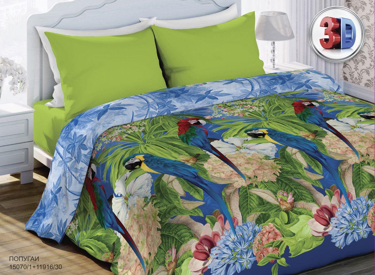 Комплект белья Любимый дом Попугаи, 2-спальный, наволочки 70x70. 315629315629