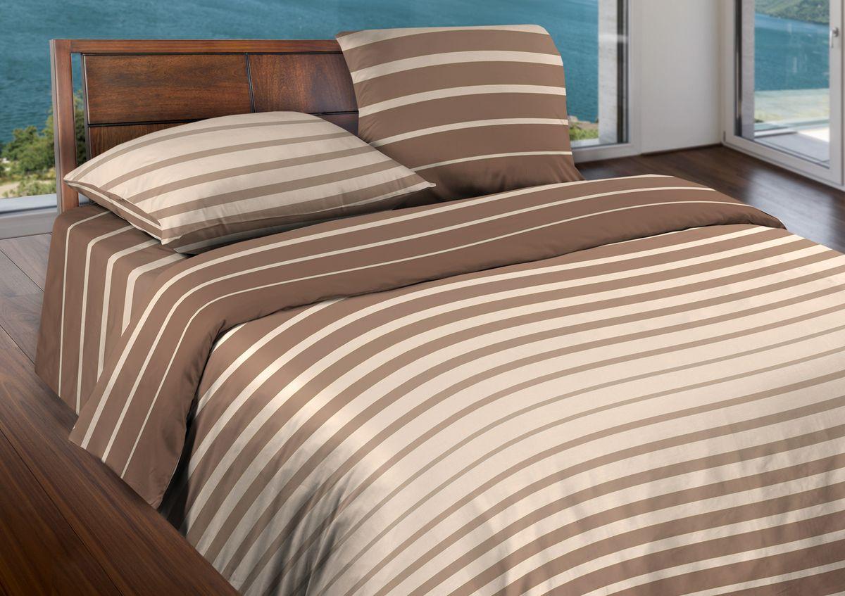 Комплект белья Wenge Stripe, 2-спальный, наволочки 70x70, цвет: коричневый белье постельное из поликоттона fff nation