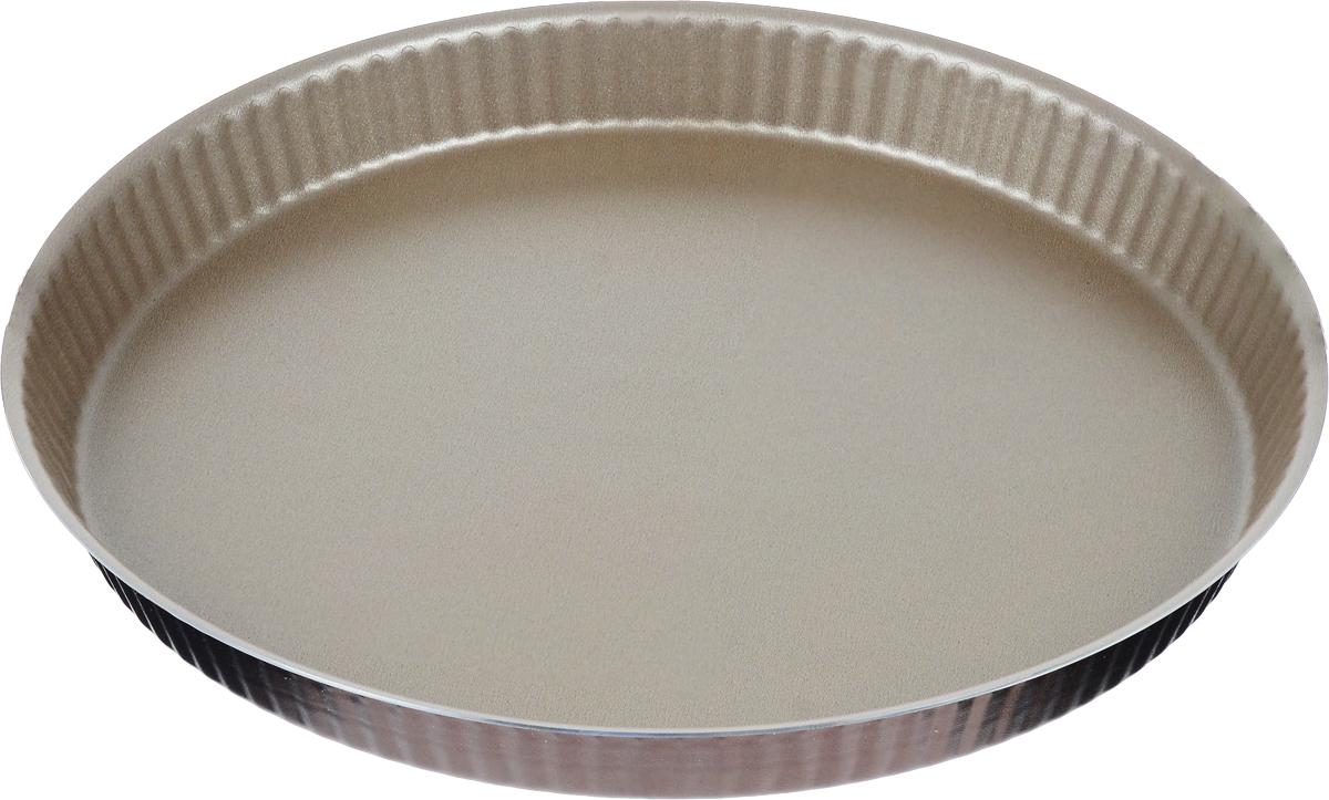 Форма для торта TVS Dolci Idee рифленая, с низким бортом, с антипригарным покрытием, цвет: золотистый, шоколадный, диаметр 30 см82077301030601Круглая рифленая форма для торта TVS Dolci Idee изготовлена из высококачественного алюминия с внутренним антипригарным покрытием Ipertek.Оригинальная по дизайну форма имеет внутренне покрытие золотистого цвета, а внешнее шоколадного. Стенки формы низкие и рифленые, что позволит без труда вынуть готовый корж. На дне формы имеется шелкотрафаретное нанесение рецепта вкусного торта. Форма предназначена для использования в духовом шкафу. Можно мыть в посудомоечной машине. Простая в уходе и долговечная в использовании форма для торта TVS Dolci Idee будет верной помощницей в создании ваших кулинарных шедевров.Диаметр формы: 30 см.Высота стенки: 3 см.