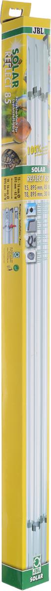 Отражатель JBL Solar Reflect 85, для люминесцентных ламп Т8 30 Вт/Т5 45 Вт, длина 85 cмJBL6173300Отражатель JBL Solar Reflect 85 M-образной формы увеличивает светоотдачу, так как находящаяся в центре лампа не загораживает отраженные от рефлектора лучи.Изделие оснащено установленными пластиковыми клипсами и защитными уголками. Отражатель выполнен из коррозионностойкого, прочного, зеркального алюминия. При использовании отражателя мощность лампы удваивается. Лампа не входит в комплект.Прекрасно подходит для аквариумов и террариумов.В комплект входя клипсы для ламп.Длина отражателя: 85 см.Мощность для ламп: 30 Вт (Т8), 45 Вт(Т5).