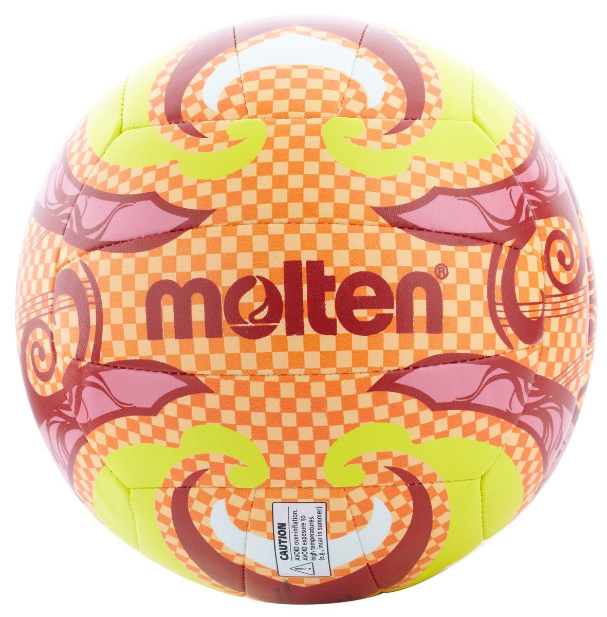 Мяч для пляжного волейбола Molten BV1500. Размер 5. V5B1502-OV5B1502-OМяч для пляжного волейбола Molten BV1500 изготовлен из тонкой синтетической кожи, обеспечивающей мягкий контакт с рукой. Камера выполнена из резины. 18 панелей мяча соединены машинной сшивкой.