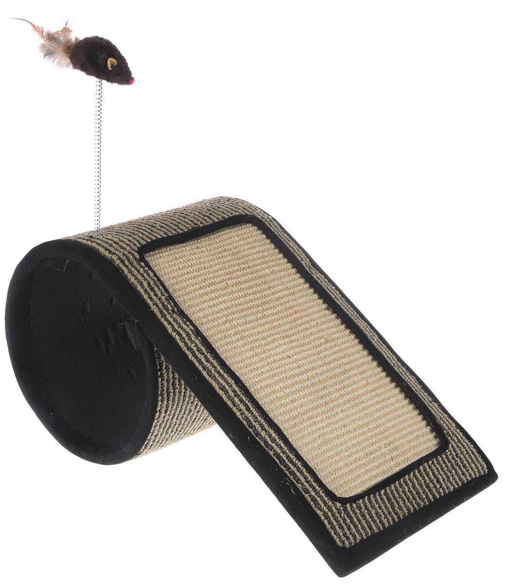 Когтеточка-туннель Triol, с игрушкой, 50 х 26 х 23NT145Когтеточка-туннель Triol станет любимым местом для вашего питомца. Мышка на пружине привлечет дополнительное внимание к когтеточке. Изделие выполнено из ДСП, текстиля, ковролина и сизаля. Структура материала когтеточки позволяет кошачьим лапкам проникать внутрь и извлекаться с высоким трением, так что ороговевшие частички когтя остаются внутри волокон. По своей природе сизаль обладает уникальным антистатическим свойством, следовательно, когтеточка не накапливает пыль, что является дополнительным привлекательным качеством, поскольку облегчает процесс уборки.