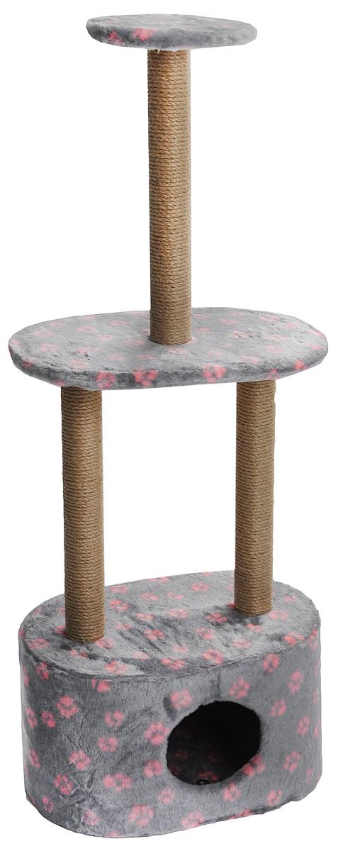 Игровой комплекс для кошек  Меридиан , 3-ярусный, с домиком и когтеточкой, цвет: серый, розовый, бежевый, 51 х 33 х 131 см - Когтеточки и игровые комплексы