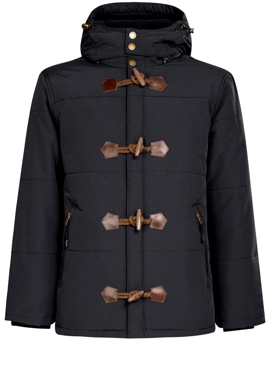 Куртка мужская oodji, цвет: темно-синий. 1L412025M/34716N/7900N. Размер XXL (58-182)1L412025M/34716N/7900NМужская куртка oodji выполнен из хлопка с добавлением полиамида. В качестве подкладки и утеплителя используется 100% полиэстер. В качестве подкладки капюшона - искусственный мех. Модель с воротником-стойкой и съемным капюшоном застегивается на застежку-молнию, имеет ветрозащитную планку на кнопках и навесных пуговицах. Капюшон, по краю дополненный эластичным шнурком-кулиской со стоплерами, пристегивается к изделию за счет застежки-молнии. Рукава имеют внутренние эластичные манжеты. Спереди расположено два прорезных кармана на застежках молниях, а с внутренней стороны - прорезной карман на застежке-молнии.