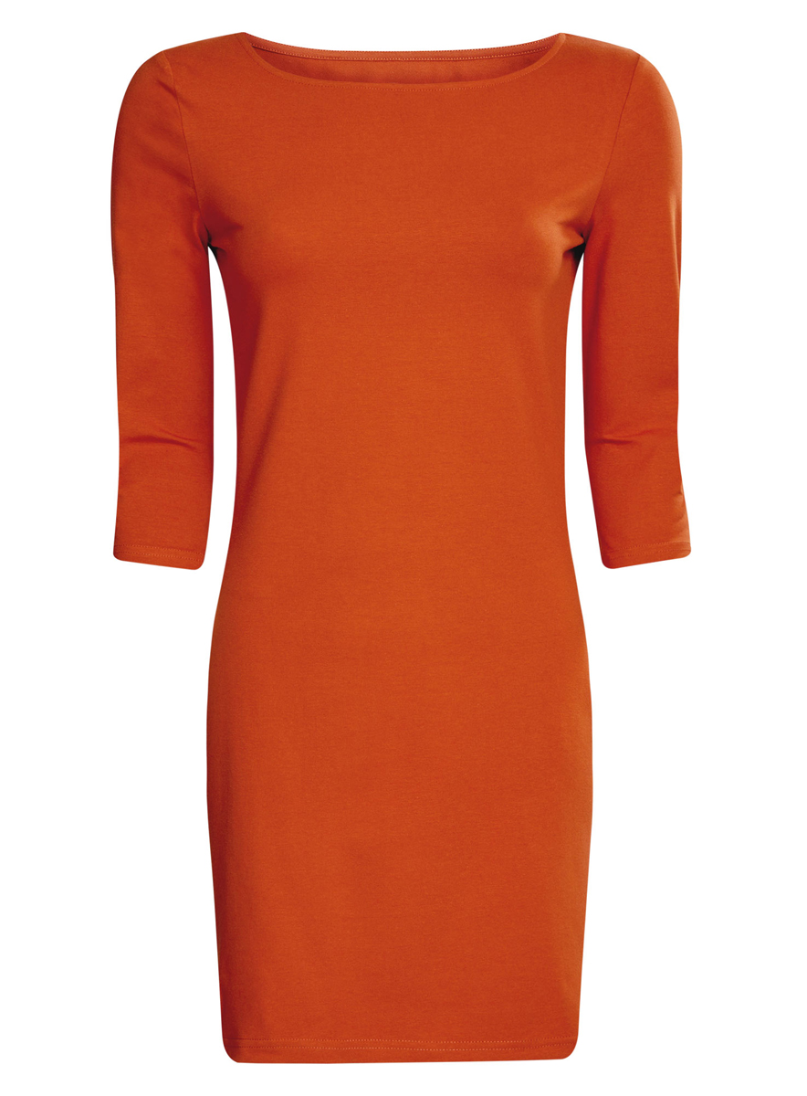 Платье oodji Ultra, цвет: терракотовый. 14001071-2B/46148/3100N. Размер M (46) платье oodji ultra цвет темный хаки оранжевый 14001071 2b 46148 6855s размер xl 50