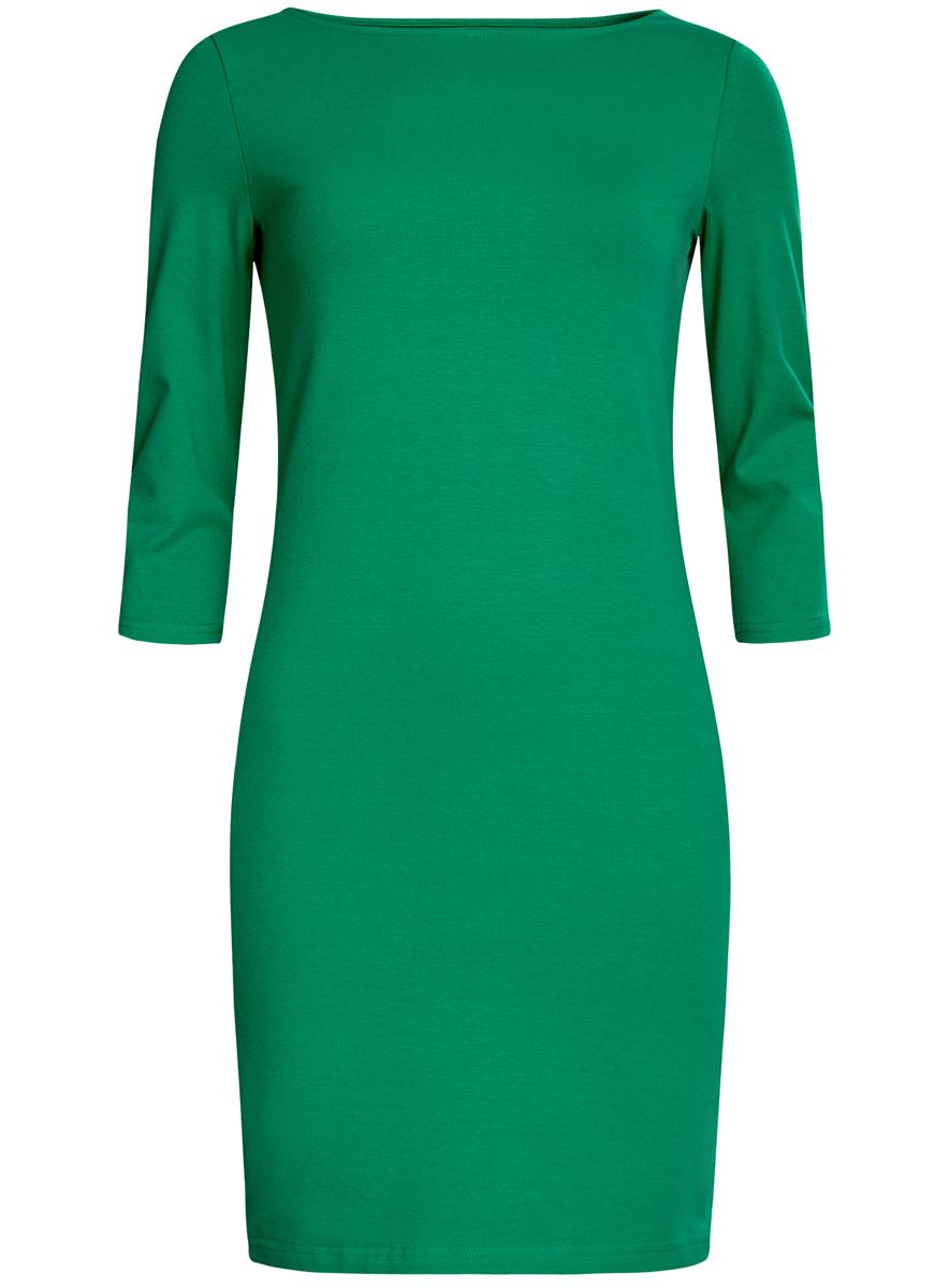 Платье oodji Ultra, цвет: зеленый. 14001071-2B/46148/6D00N. Размер XS (42)14001071-2B/46148/6D00NСтильное платье oodji, выполненное из хлопка с добавлением эластана, отлично дополнит ваш гардероб. Модель длины мини с круглым вырезом горловины и рукавами 3/4.