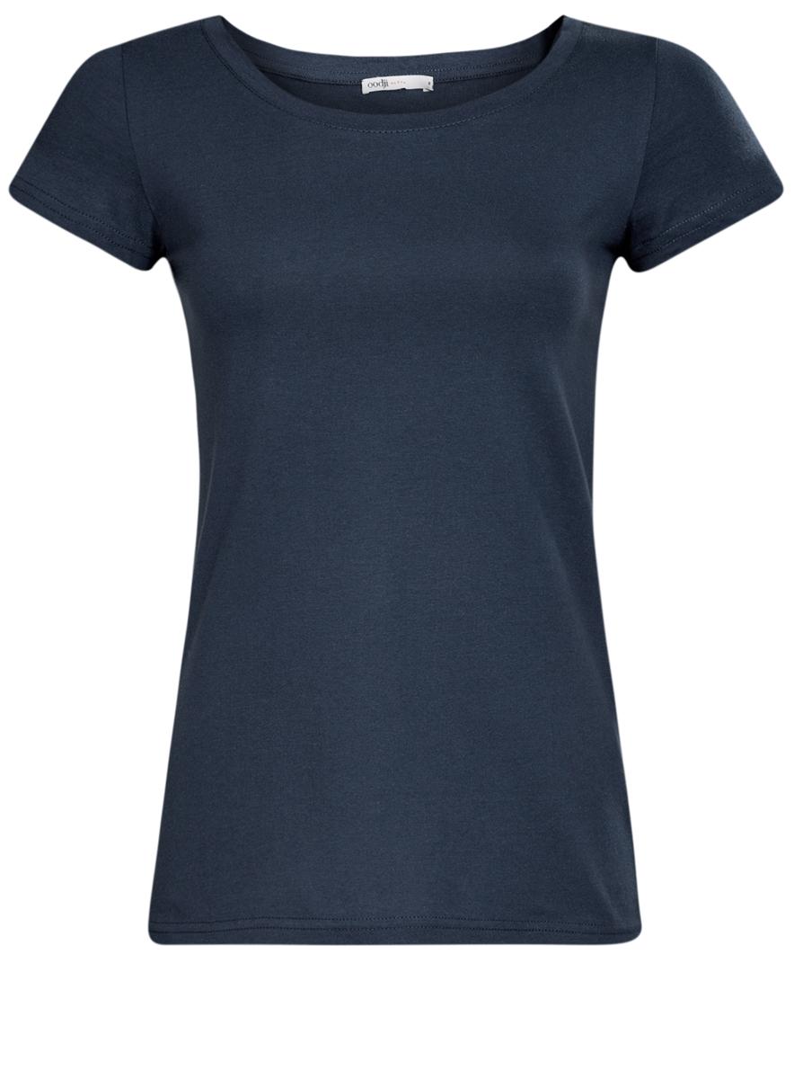 Футболка женская oodji Ultra, цвет: темно-синий. 14701008B/46154/7900N. Размер XL (50) футболка женская oodji ultra цвет темно синий 3 шт 14701008t3 46154 7900n размер xs 42