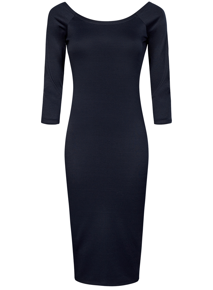 Платье oodji Ultra, цвет: темно-синий. 14017001/42376/7900N. Размер XS (42)14017001/42376/7900NПлатье oodji Ultra выполнено из облегающей ткани. Имеет длину миди, рукава 3/4 и разрез-лодочку воротника, который позволяет носить изделие как с открытыми плечами, так и стандартно.