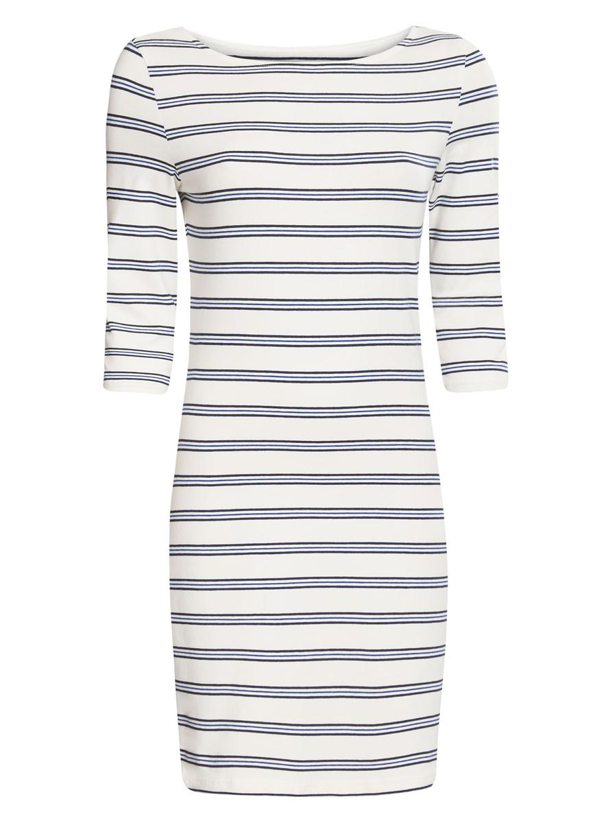 Платье oodji Ultra, цвет: белый, темно-синий. 14001071-2B/46148/1279S. Размер S (44) платье oodji ultra цвет темный хаки оранжевый 14001071 2b 46148 6855s размер xl 50