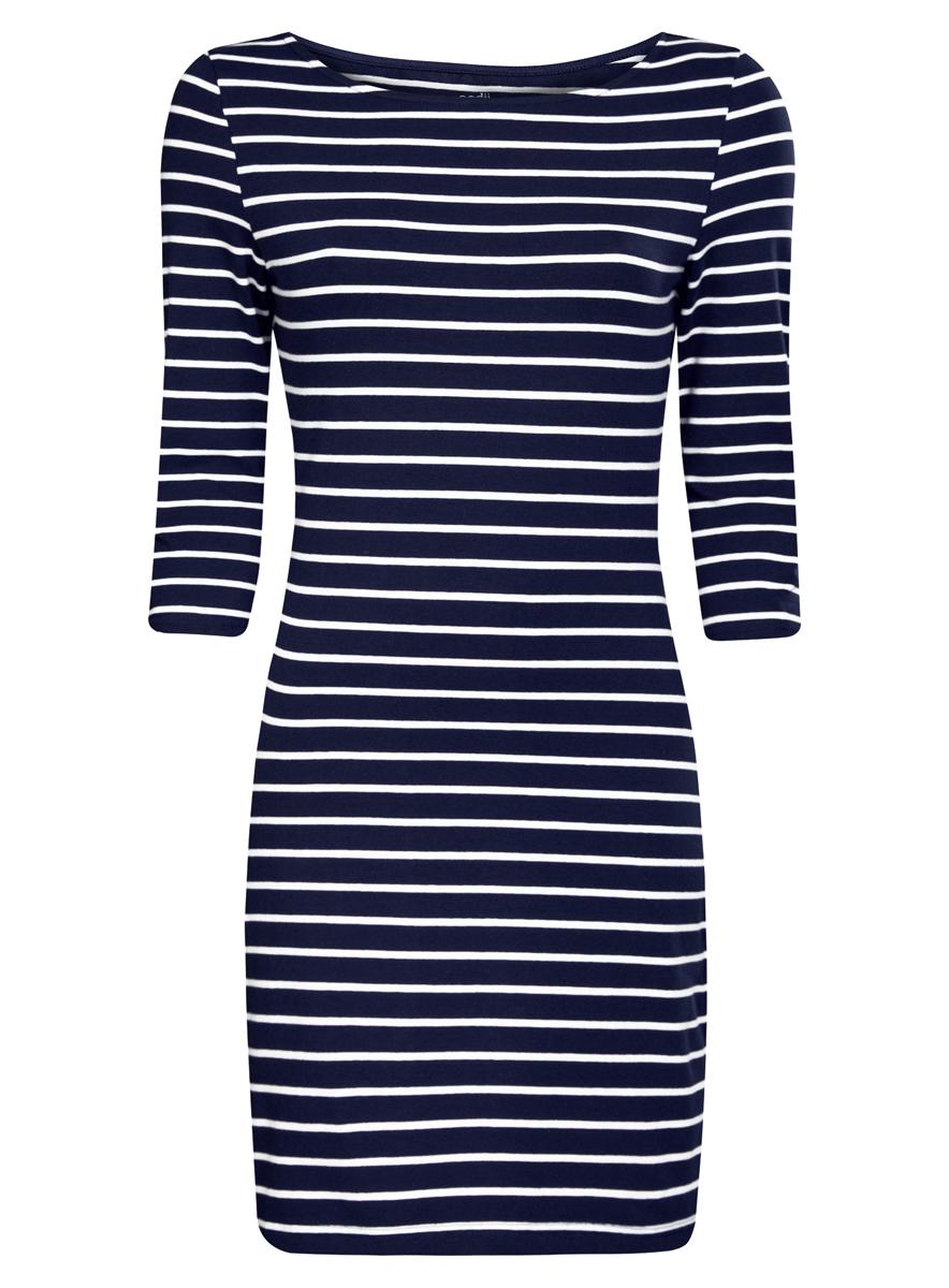 Платье oodji Ultra, цвет: темно-синий, белый. 14001071-2B/46148/7910S. Размер XXL (52)14001071-2B/46148/7910SСтильное платье oodji Ultra, выполненное из эластичного хлопка, отлично дополнит ваш гардероб. Модель мини-длины с круглым вырезом лодочкой и рукавами 3/4 оформлена принтом в полоску.